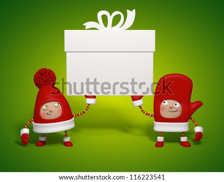 Christmas characters holding gift banner - stock photo