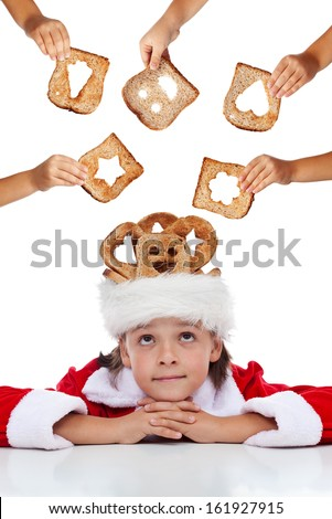 Christmas charity - lots of hands giving food for the needy - stock photo