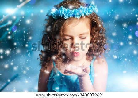 Christmas child girl on winter tree background, snow, snowflakes border. Happy holidays, new year 2016. Merry Christmas - stock photo
