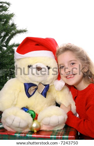 Christmas child with Teddy Bear copyspace - stock photo