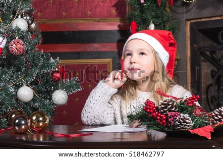 Christmas Child Write Letter Santa Claus Stock Photo Royalty Free 518462797