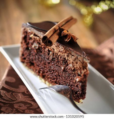 christmas chocolate cake - stock photo