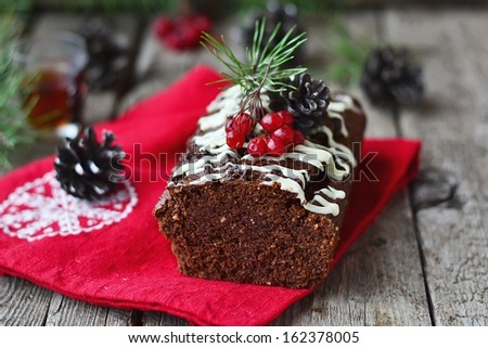 Christmas chocolate cake. - stock photo
