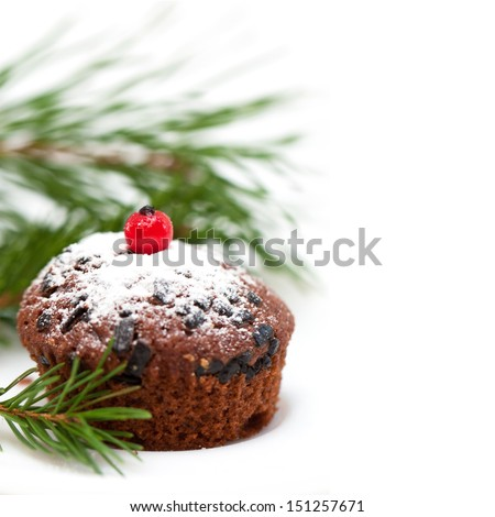 Christmas chocolate cupcake, isolated on white background - stock photo