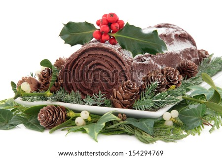 Christmas chocolate yule log cake with holly, mistletoe, snow, pine ...