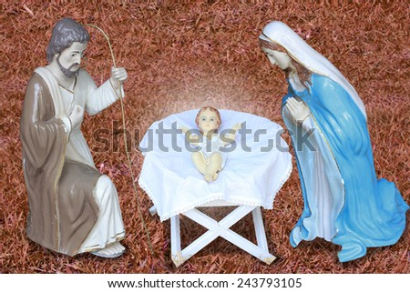 Christmas christian nativity scene with baby Jesus in the manger  - stock photo
