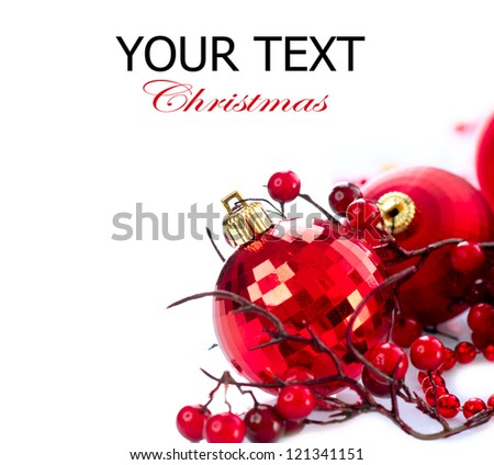 Christmas. Christmas and New Year Bauble and Decoration isolated on White Background.Holiday Border Design Composition. Red Colour - stock photo