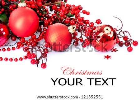 Christmas. Christmas and New Year Bauble and Decoration isolated on White Background.Holiday Border Design Composition. Red Colour