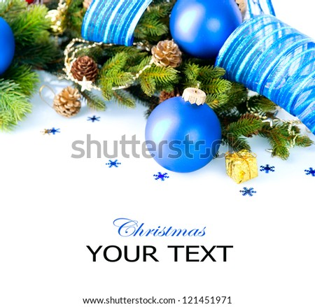 Christmas. Christmas and New Year Blue Bauble And Decorations border art Design. Isolated on White Background - stock photo