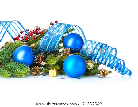 Christmas. Christmas and New Year Blue Baubles And Decorations border art Design. Isolated on White Background - stock photo
