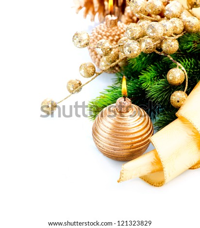 Christmas. Christmas and New Year Decoration with Candle isolated on White Background. Design Composition. Golden Color Holiday Border Art - stock photo