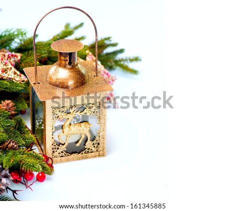 Christmas. Christmas and New Year Decorations isolated on a white background. Decoration border design. lantern - stock photo