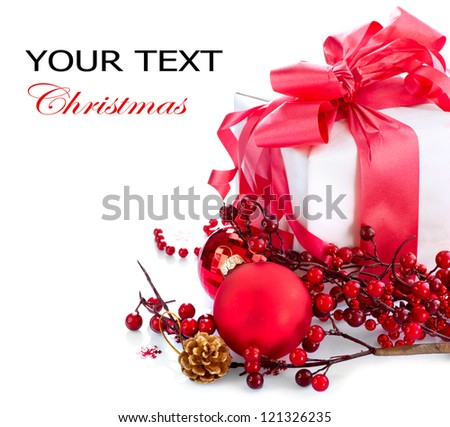 Christmas. Christmas and New Year Gift Box and Decorations isolated on White Background.Holiday Design Composition. Red Color - stock photo