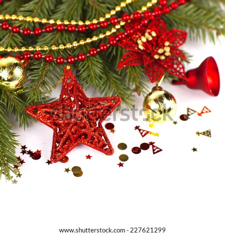 Christmas. Christmas Decoration Holiday Decorations Isolated on White Background - stock photo