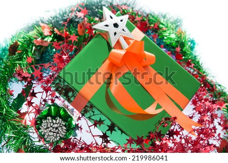 Christmas. Christmas Gift Box and Decorations isolated on White Background.  - stock photo