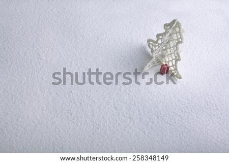 Christmas, Christmas tree, snow, Christmas trees decoration on snow - stock photo