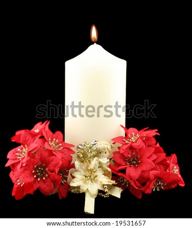 Christmas church candle with angel and red flowers. - stock photo