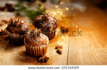 Christmas cinnamon muffins - stock photo