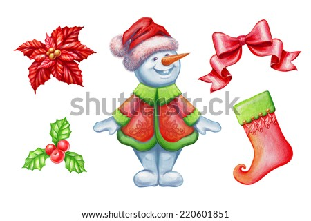 Christmas clip-art set isolated on white background, snowman, poinsettia flower, bow, holy berry, stocking, watercolor illustration - stock photo