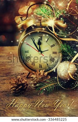 Christmas clock. - stock photo