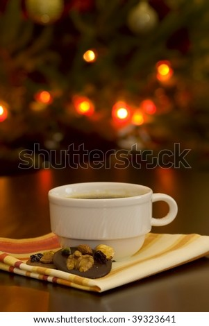 Christmas coffee and cookies - stock photo