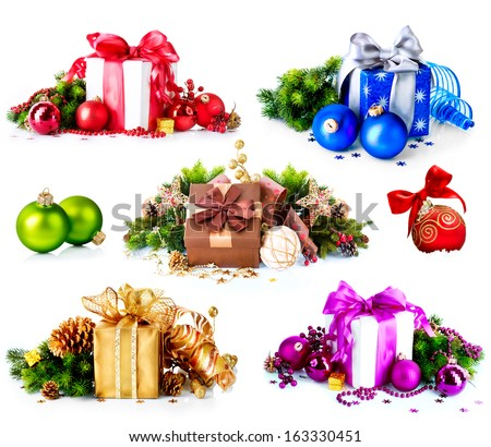 Christmas. Collage of Dufferent Colorful New Year's Gifts and Decorations isolated on White Background. Present Boxes with Baubles , Ribbon, Evergreens, Bow. Various Colors. Art Holiday Design.  - stock photo