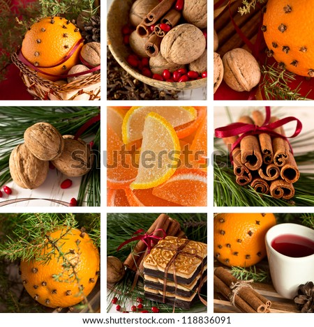 Christmas collage of fruit and sweets - stock photo