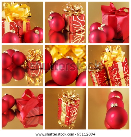 Christmas collage of nine still life with red gifts and Christmas-tree decorations on golden background. - stock photo