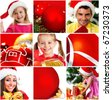 christmas collage. studio shot - stock photo