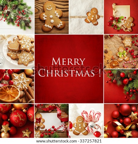 Christmas collage with decorative christmas gingerbread cookies and ornaments - stock photo