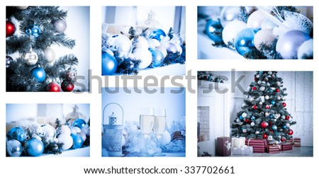 Christmas collage with photos of spruce, champagne and decorations - stock photo