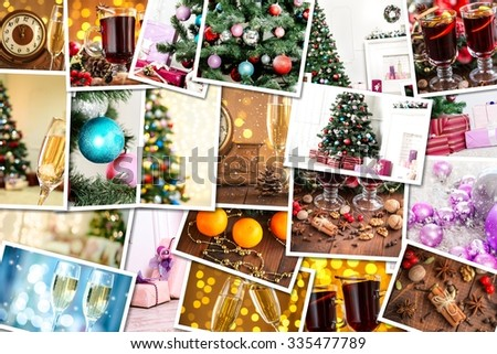 Christmas collage with photos of spruce, champagne, mulled wine, orange, bokeh and decorations - stock photo