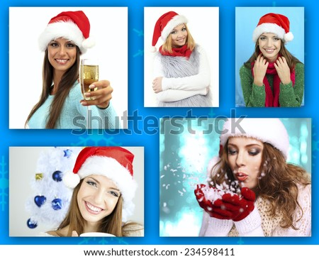 Christmas collage. Young happy people - stock photo