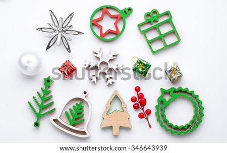 Christmas collection, gifts and decorative ornaments, on white background. photographic montage. View from above