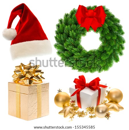 Christmas collection isolated on white background. Santa hat, gifts, baubles, wreath - stock photo