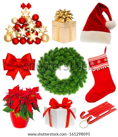 Christmas collection isolated on white background. Set with stocking, gifts, wreath, sock, hat, sled, baubles, ribbon bow - stock photo