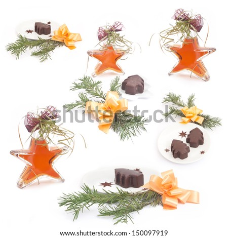Christmas collection with star-bottle - stock photo