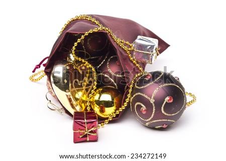 Christmas colorful decoration isolated on white - stock photo