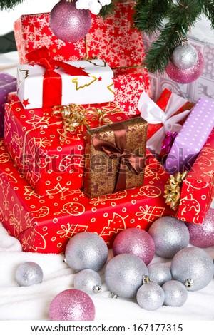 Christmas: colorful gift box  - stock photo