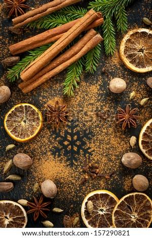 Christmas colorful spices.?innamon, nutmeg, star anise, cardamom and cloves - stock photo
