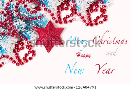 Christmas composition in red - stock photo
