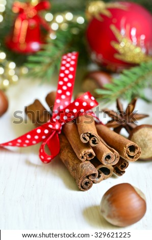 Christmas  composition on a light wooden background.