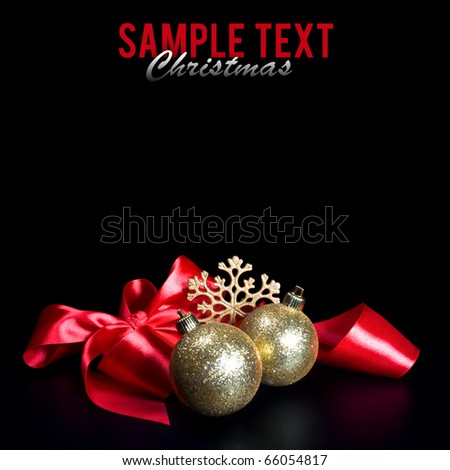Christmas composition on black background - stock photo