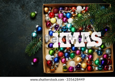 Christmas composition on dark vintage background - Little Christmas balls
