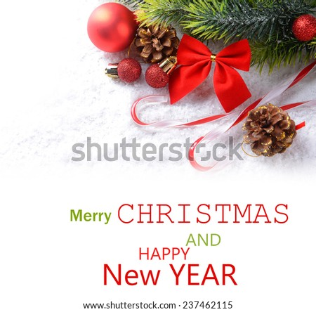 Christmas composition on light background