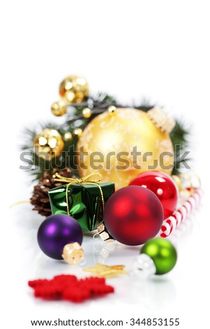 Christmas composition on white background - stock photo