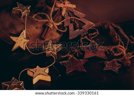 christmas composition on wooden background - stock photo
