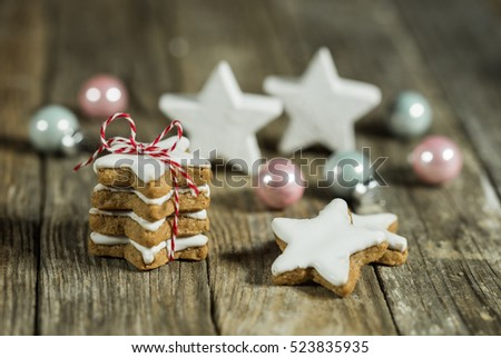 Christmas composition, sweet cookies and christmas ornaments decoration.