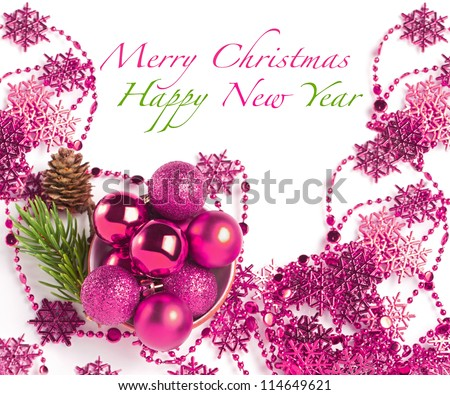 Christmas composition with baubles and sample text - stock photo