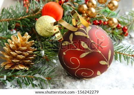 Christmas composition with christmas ball and decoration - stock photo
